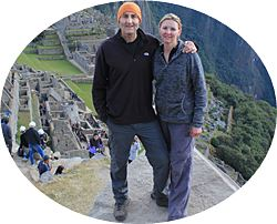 Happy visitors enjoying Machu Picchu