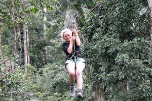 Crossing the jungle zip line