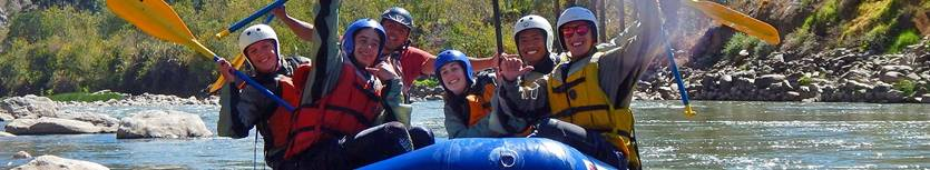 Happy rafting family