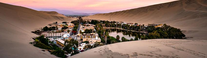 Oasis of Huacachina in Pisco Peru