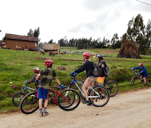 Family mountain biking Andes